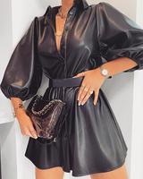 Women Winter Autumn PU Dress Solid Button Up Faux Leather Dress Women Long Sleeve Turn Down Collar Dress