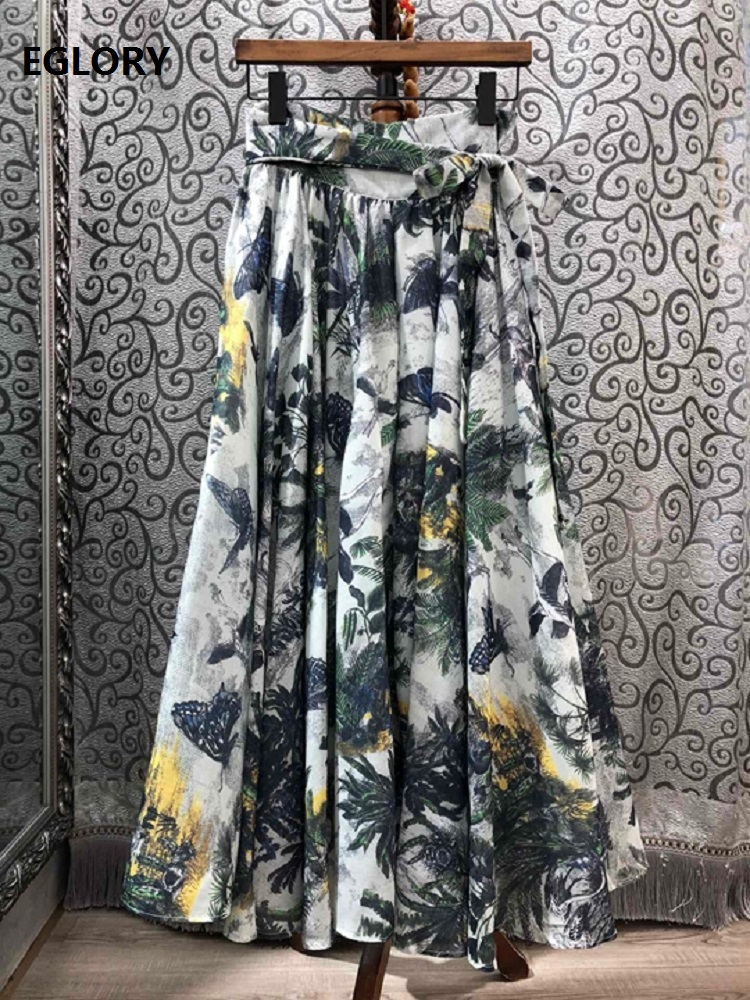 High Quality Long Skirts 2020 Spring Summer Casual Long Beach Skirt Women Tropical Prints Bow Belted Long Maxi Skirts Basic