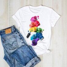 Women T-shirt Graphic 3D Finger Nail Paint Female T-shirt To