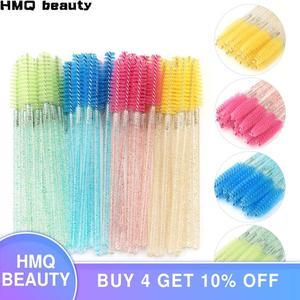 Image 1 - 25/50Pcs Disposable Crystal Eyelash Brush Mascara Wands Applicator Grafting Eyelash Curling Comb Beauty Makeup Tool