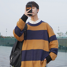 Winter New Sweater Men Warm Fashion Contrast Color Casual O-neck Sweater Pullover Street Wild Loose Striped Long-sleeved Sweater недорого