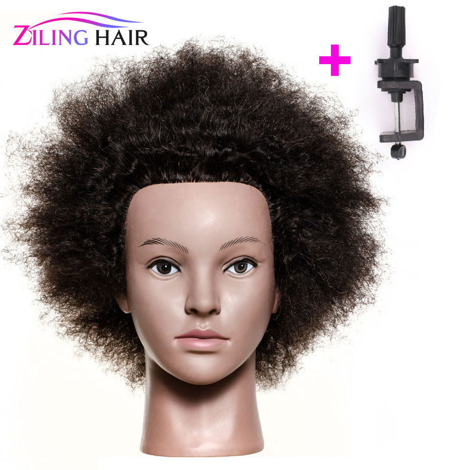ZILING Wig Head Hairdressing Mannequin Training Head Afro Mannequin Heads for Salon Hair Practice Styling African Dummy Head image