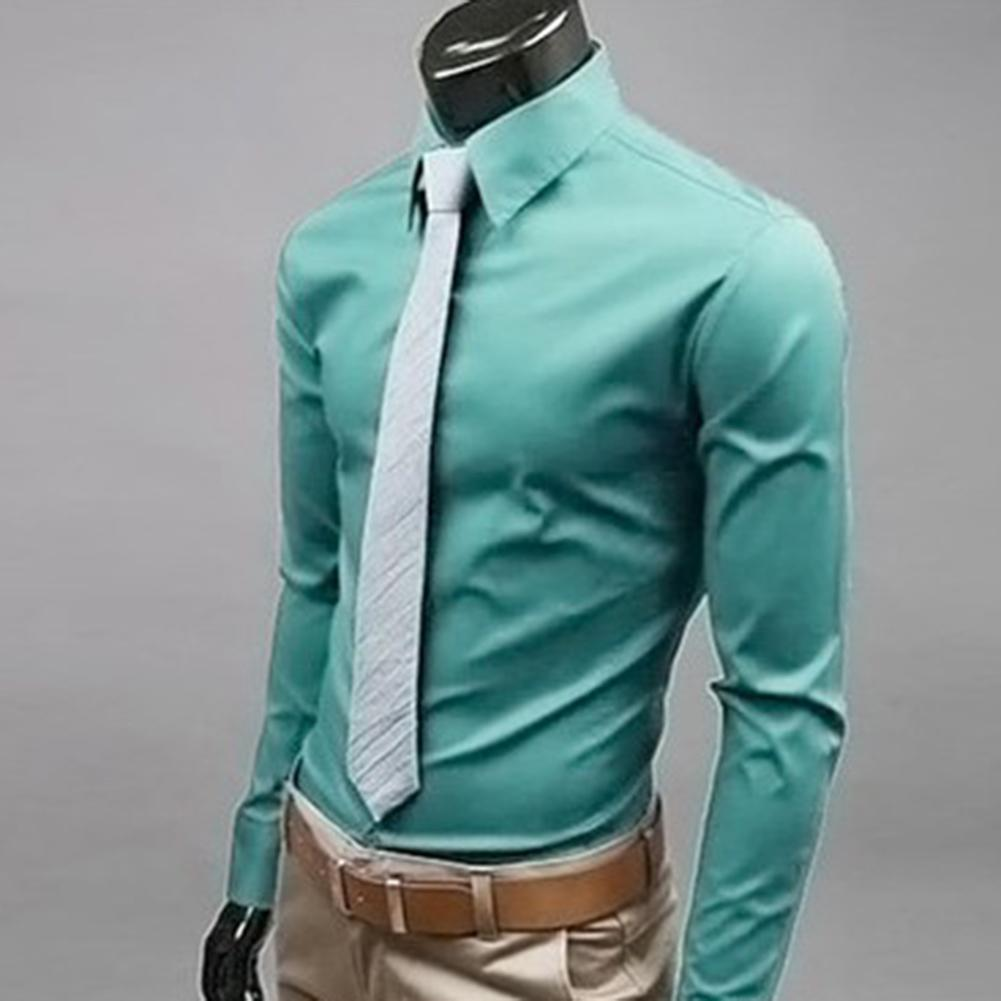 Fashion Men Solid Color Long Sleeve Down Shirt Slim Formal Business Long Sleeve Down Shirt Slim Formal Business Fashion Men