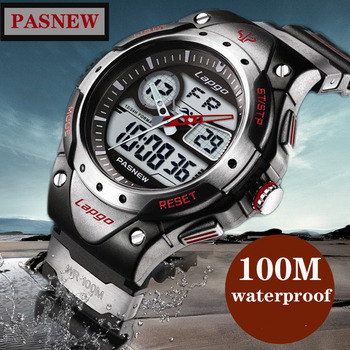 PASNEW 100 meters waterproof electronic watch chronograph male student multi-purpose diving swimming sports