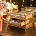 Caixas de armazenamento de cobre-rimmed vidro jóias caixa de armazenamento brincos anel colar acabamento caixa quadro pano à prova de poeira
