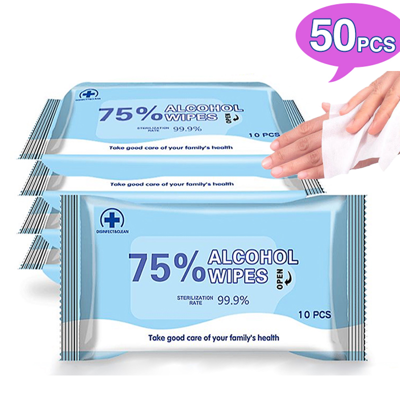 Hot 50 PCS Disposable Alcohol Wipes Sterilization Portable Wipes Antibacterial Cleaning Skin Cleaning Care Alcohol Wet Wipes Pad