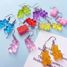 Funny Colorful Ins Style Cartoon Bear Earring Lovely Resin Bear Candy Color Stud Earring For Women Girl Daily Jewelry Party Gift