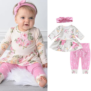Explosion Adorable Newborn Autumn Baby Girls Sets Floral Ruffles Tops Dress High Waist Dots Print Pants Bow Headband 3Pcs 0-24M girls floral print bow back mesh overlay dress