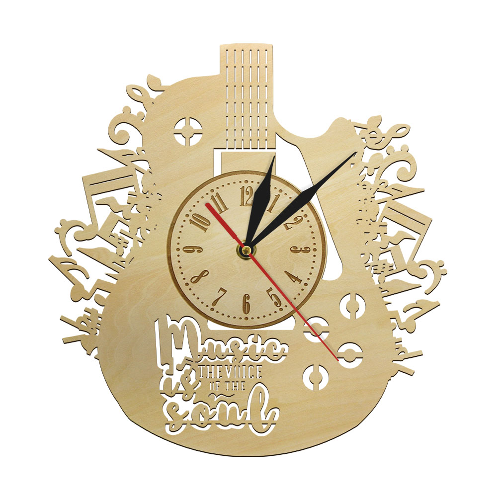 Music Is The Voice Of The Soul Guitar Rustic Wood Wall Clock Inspirational Musical Quote Wall Watch Eco Friendly Wall Art Decor