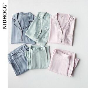 Image 3 - New Elegant High end 6 Color Pajamas Viscose Solid Pijamas Long Sleeve Lounge Wear Women Satin Sleepwear Womens Home Clothes