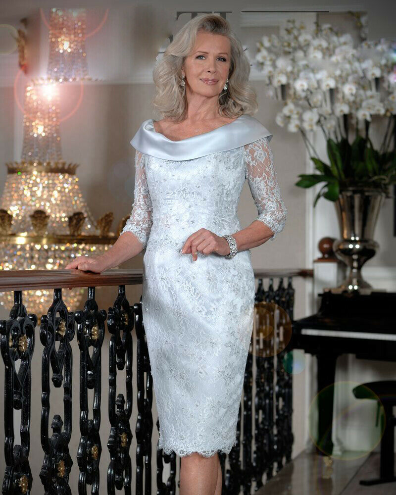 Plus Size 2020 Mother Of The Bride Dresses Sheath 3/4 Sleeves Lace Beaded Short Wedding Party Dress Mother Dresses For Wedding