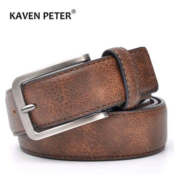 Akcesoria dla mężczyzn męskie skórzane paski do spodni stylowe paski na co dzień męskie z czarnym szarym ciemnobrązowym i brązowym kolorem tanie i dobre opinie KAVENPETER Dla dorosłych Cowskin Faux leather Metal CN (pochodzenie) 3 4cm GEOMETRIC 5 0cm KMP036 Pasy 3 5cm Black Grey Dark Brown Brown