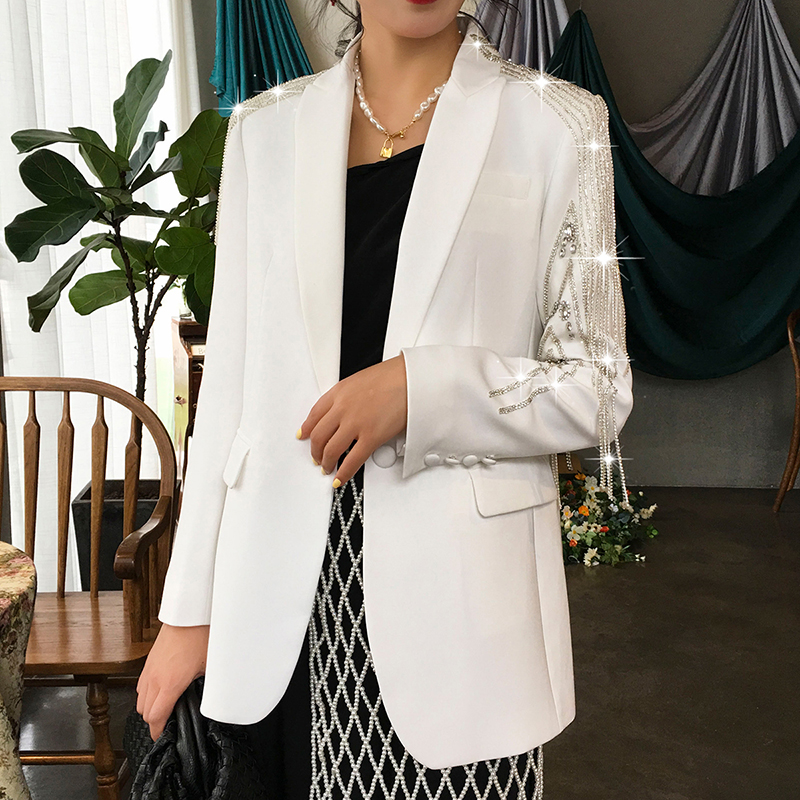 HIGH STREET Newest 2019 Designer Blazer Women's Single Button Strass Beaded Embellished Blazer Jacket