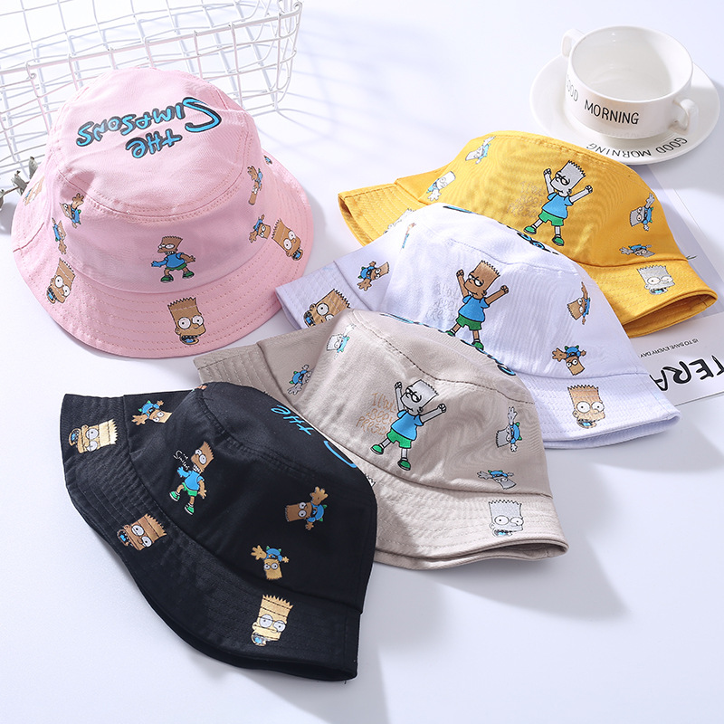 2019 New Style Korean-style Cartoon CHILDREN'S Bucket Hat Printed Figure Baby Flat Cap Hip Hop Trend Bucket Hat