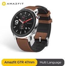 Глобальная версия Amazfit GTR 47 мм Смарт-часы 5ATM Водонепроницаемый Smartwatch 24 дней Батарея GPS музыка Управление кожаный силиконовый ремешок