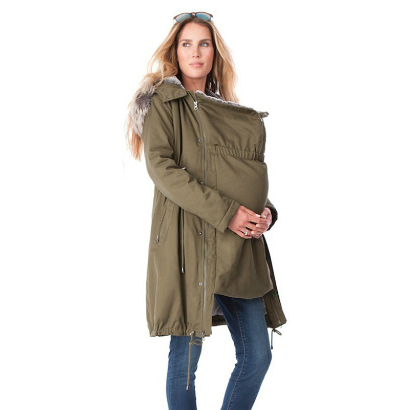 Maternity Coat Jacket Kangaroo Outfit Keep Thin Windbreaker Mother Fur Collar Outwear Pregnant Woman Baby Carrier Hooded Coat