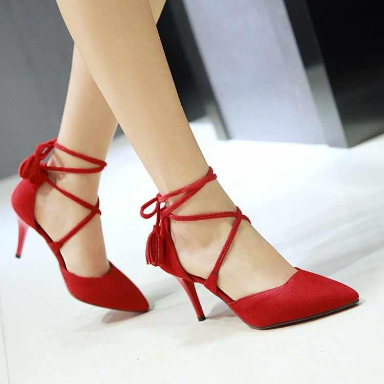 Size Lớn 11 12 Cao Gót Nữ Giày Nữ Người Phụ Nữ Mùa Hè Nữ Ôm Giày Xăng Đan Mũi Nhọn Dây Đeo Chéo và Tua Rua