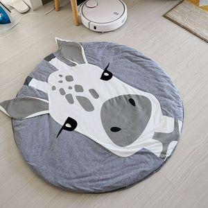 Image 5 - Игровой коврик с рисунком животных, коврики для детей хлопок, для ползания, хлопок, Круглый Пол, для детской комнаты