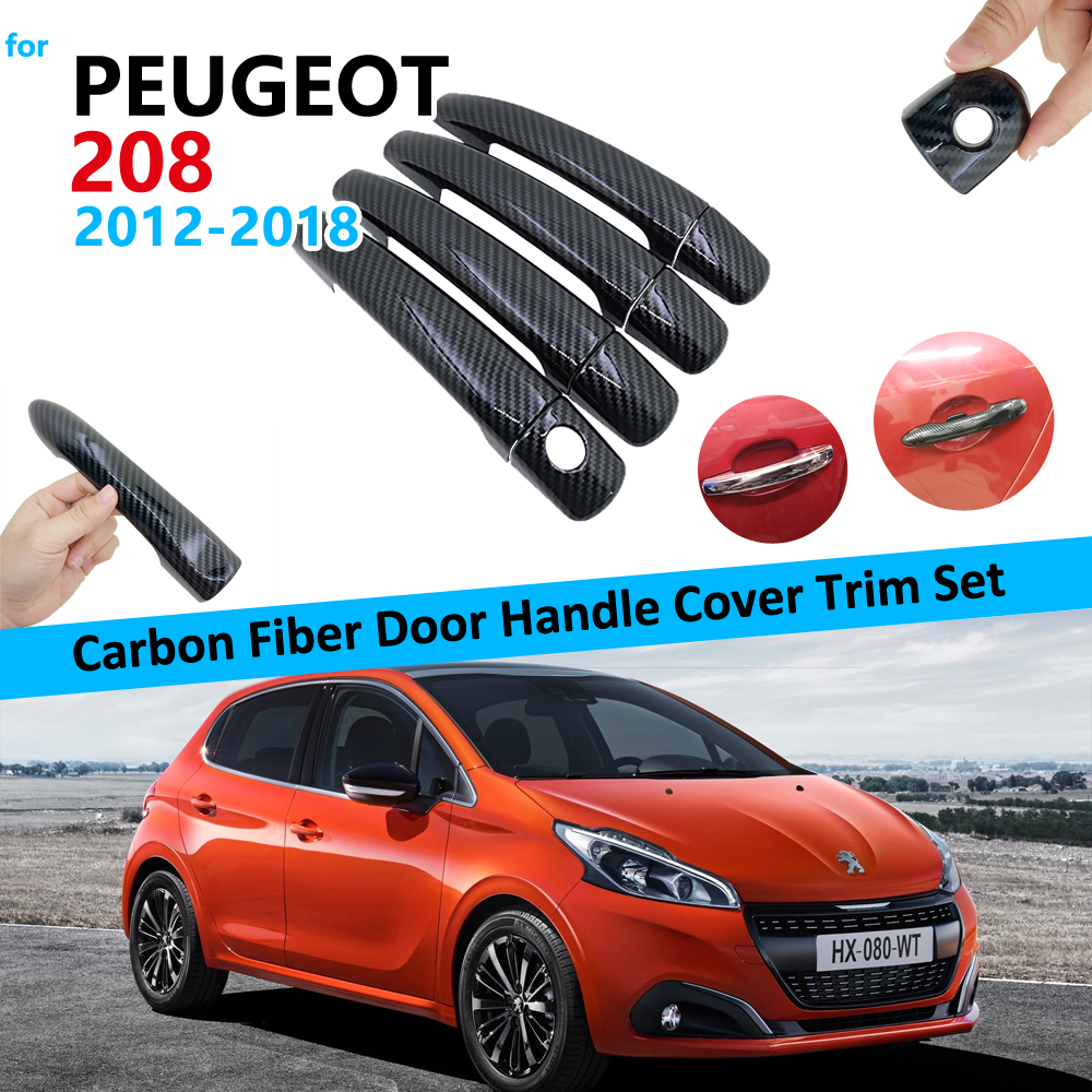 Carbon Fiber <font><b>Door</b></font> <font><b>Handle</b></font> Cover Trim Set for <font><b>Peugeot</b></font> <font><b>208</b></font> 2012~2018 Black Car Accessories Stickers 2013 2014 2015 2016 2017 image
