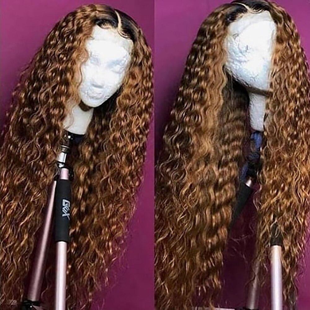 Парик апельсиновый имбирный на сетке спереди, волнистый парик средней части на сетке, цветные парики из человеческих волос, T-Part Ombre 1b 30, парик блонд Реми
