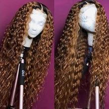 Парик апельсиновый имбирный на сетке спереди, волнистый парик средней части на сетке, цветные парики из человеческих волос, T-Part Ombre 1b 30, пари...