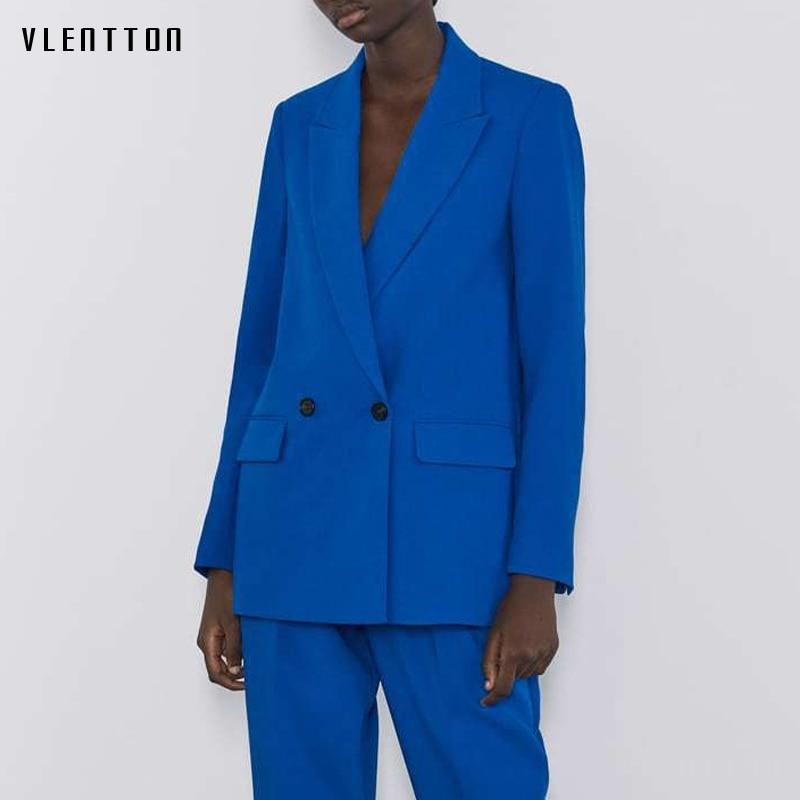 Autumn Women Elegant Blue Black Office Ladies Blazer Fashion Solid Long Blazers Jackets Notched Suit Tops Femme Outerwear Coat
