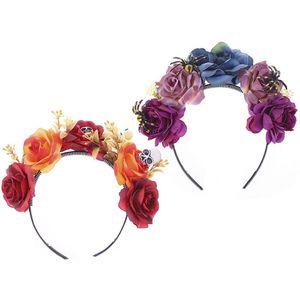 День мертвых паук повязки на голову с черепом Разноцветные Розы Цветочные Корона обруч для волос 40JF