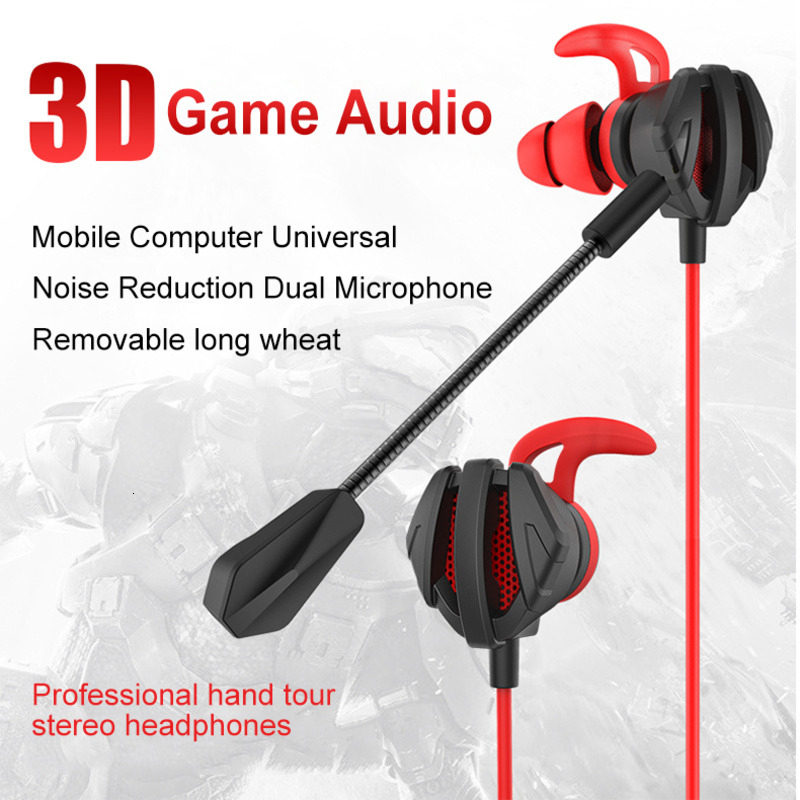 Professional Gaming Headset In Ear Earphones With Microphone 3.5mm Wired Handsfree Music Earbuds For PUBG Smartphone Games Gamer image