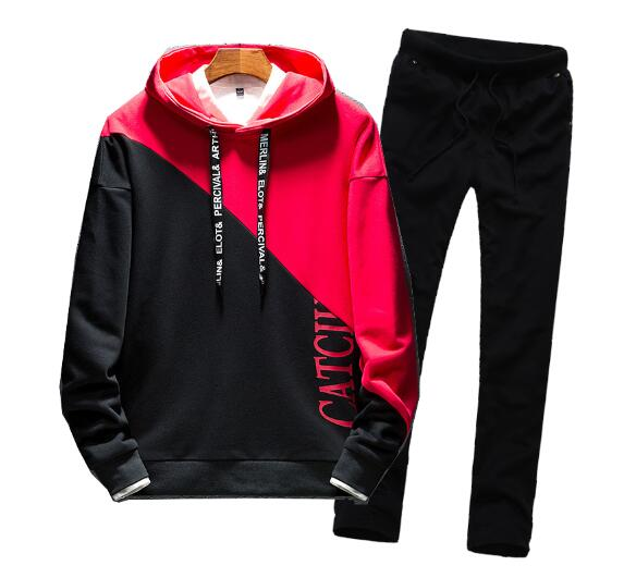 Men Casual Hoodies Hooded Print Hip Hop Sport Tracksuit Coat Jacket Trousers Pants Suit Outfit 2PC