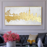 Golden picture modern abstract canvas painting home living room bedroom dining room wall art oil painting handmade