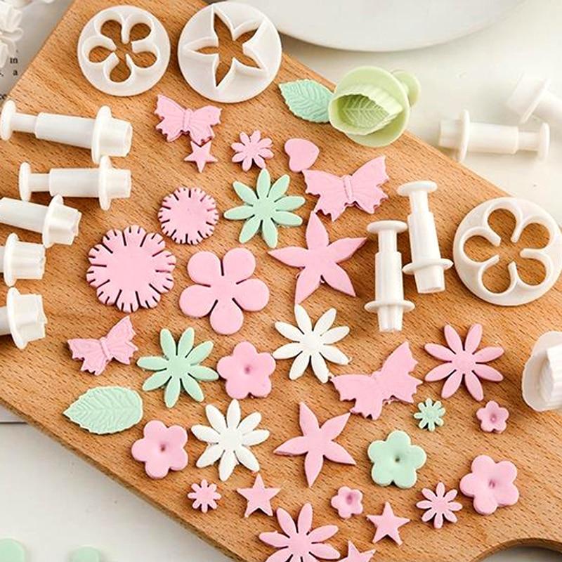 Mermaid Flower Pentagram Fondant mould Cutter Cake Decorating Plunger Biscuit Cookies Diy Mold Christmas Sugarcraft Cake Tools