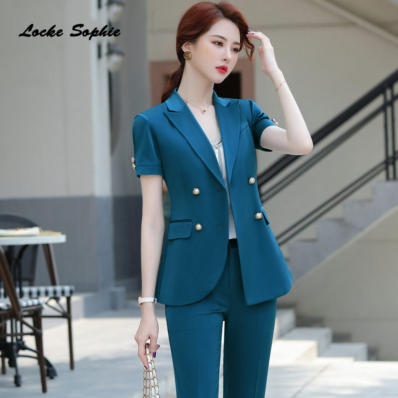 Women Plus size Blazers coats 2020 Summer cotton double-breasted Splicing Short sleeve Suits jackets ladies Skinny Blazers Suits