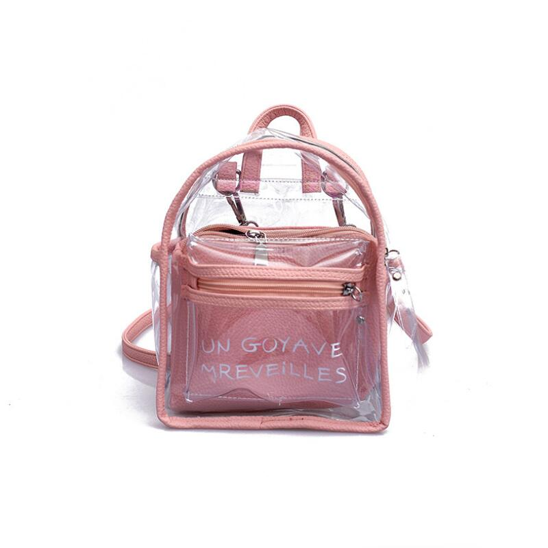 2019 Women Transparent Jelly Small Backpacks Girls Mini Clear Backpack Fashion Letter Back Pack Teenage Girls Fashion Bookbag