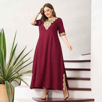 Women's Plus Size Dress Vintage Lace Patchwork Split Hem Solid Half Sleeve Maxi Party Prom Long Maxi Red Suelto Dresses