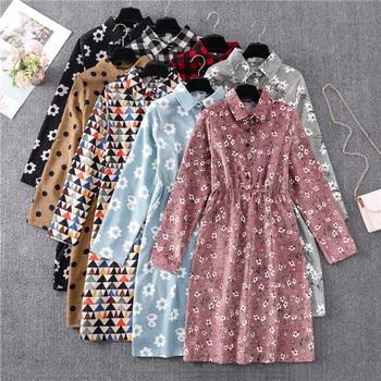 цена на Retro Autumn Winter Corduroy Floral Polka Dot Dress Women Long Sleeve Lapel Print Medium Long Slim Lady Dress