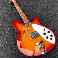 Guitarra eléctrica de 12 cuerdas, 360, pintura roja, diapasón de palisandro con barniz brillante, guitarra de núcleo medio vacío, envío gratis