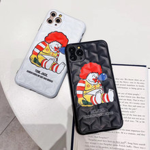 Luxury Off 3D McDonald's Clown Couple White Black Phone Case for iPhone 7 8 Plus 11 Pro X XR XS Max Y-shaped pattern Soft Cover(China)