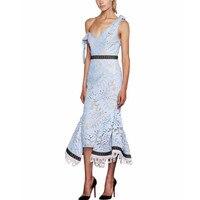 High Quality Women's Lace Dress Maxi Long Sexy V neck Trumpet Elegant Party Dresses 2019 Designer One Shoulder Off Bow Vestidos
