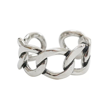 925 Sterling Silver Fashionable Individual Open Ring Hand-woven Chain-like Wide Edition Ladys Index Finger Hand Jewelry