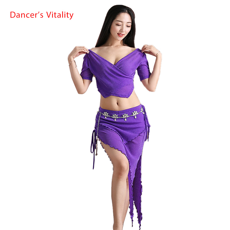 NEW Yarn Belly Dance Set Women Short Sleeved Deep V Collar Top + Skirt 2pcs Belly Dance Suit Women Exercise Set 4 Colors M L