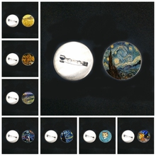 2019/New Stainless Steel Van Gogh Famous Painting Brooch Sunflower Starry Night Glass Convex Round Brooch Pin Brooch Badge
