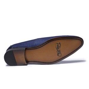 Image 5 - Printemps automne hommes chaussures habillées Denim couture en cuir véritable fête de mariage Banquet hommes formels bleu mocassins avec gland