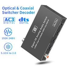 AYINO Optische Koaxial 4x3 Switcher 24bit 192K DAC 5,1 CH zu RCA 3,5 MM 2CH Decoder Konverter SPDIF/TOSLINK Extender mit IR Fernbedienung