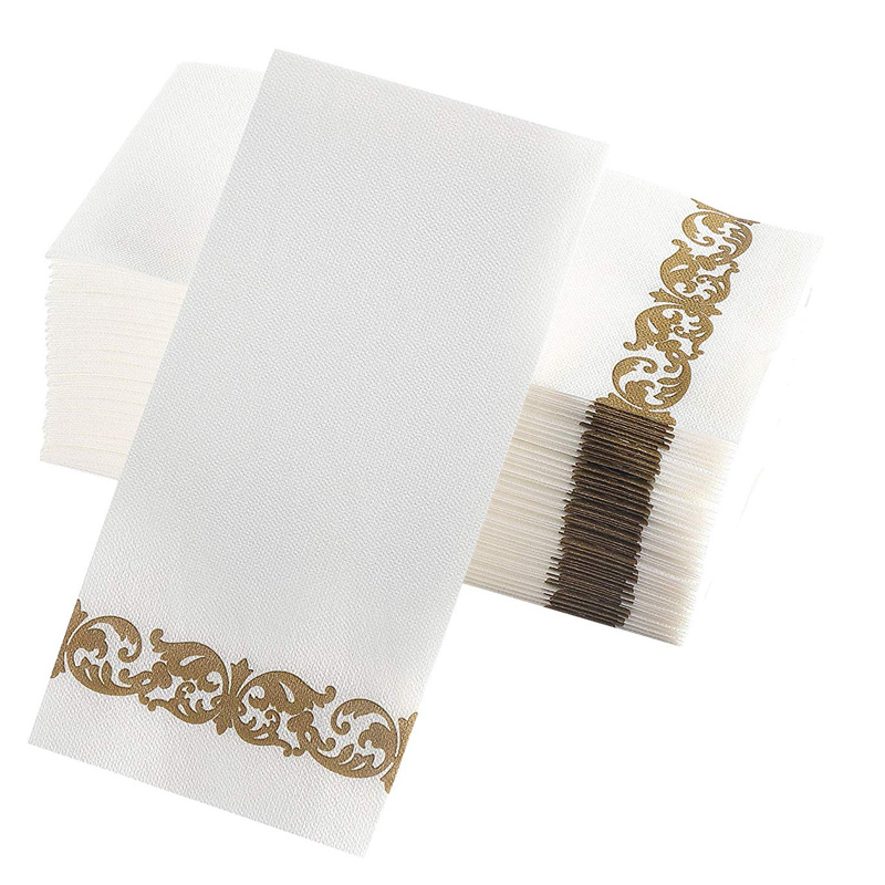 Premium Wedding Napkins Soft, Durable And Absorbent White And Gold Napkins Disposable Bathroom Hand Towels, Guest Towels Party N
