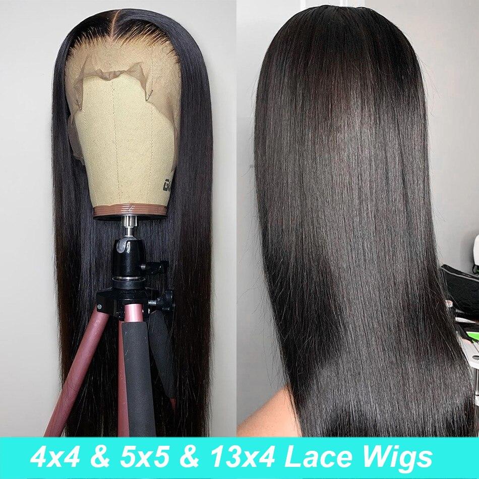 Parrucca frontale in pizzo HD da 30 pollici parrucca diritta in pizzo 4x4 parrucca frontale in pizzo trasparente parrucche per capelli umani capelli indiani grezzi per donne nere