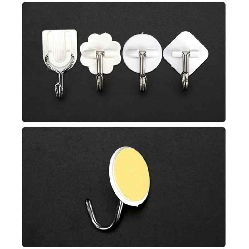Strong White Self Adhesive Door Wall Hangers Suction Cup Sucker Wall Hooks Hanger for Kitchen Bathroom Accessories