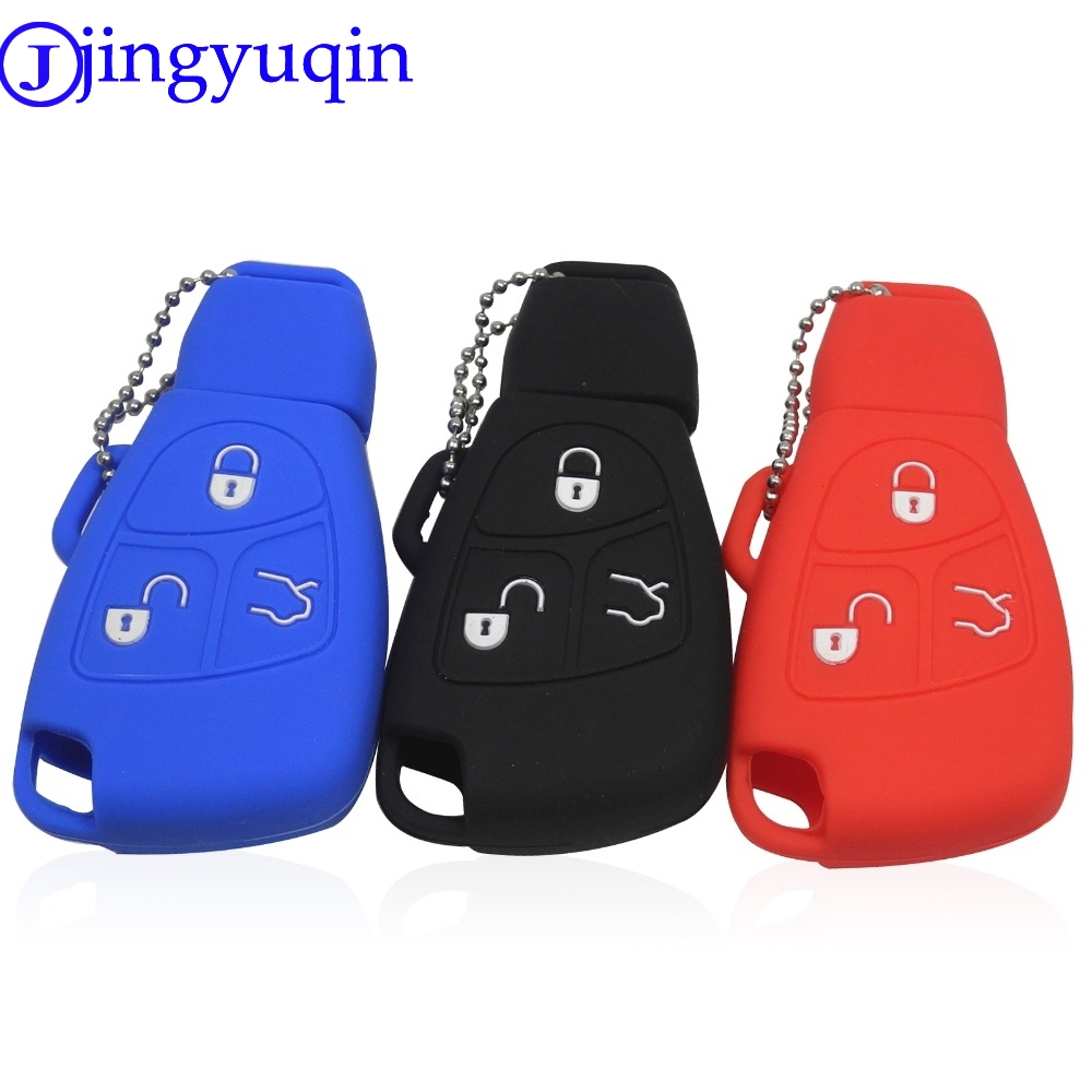 Jingyuqin 3 Button Silicone Remote Key Case For Mercedes For Benz B C E ML S CLK CL Fob Cover Holder Keyless Entry Protective