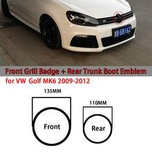 2 pçs gloss preto de alta qualidade carro frente grill emblema tronco traseiro boot emblema logotipo para vw golf mk6 2009 2010 2011 2012