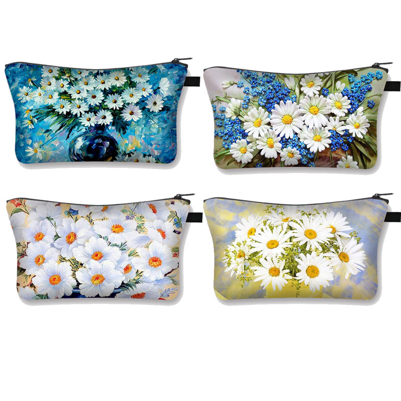 Women Fashion Cosmetic Bags 3D Daisy Printed Daisy Pattern Makeup Bags Organizer Bag Toiletry  Girls Mini Handbag
