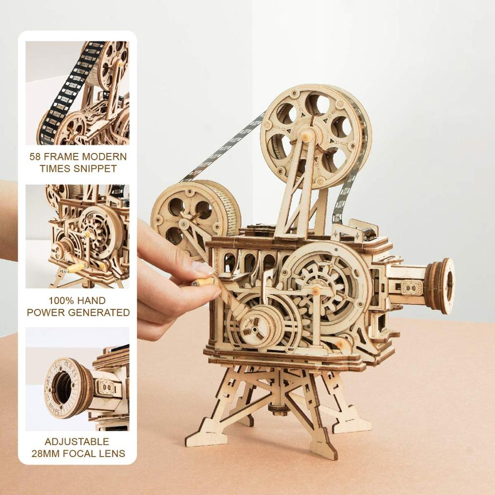 Image 4 - ROKR Hand Crank Projector Classic Film Vitascope 3D Wooden Puzzle Model Building Block Toys for Children Adult LK601-in Model Building Kits from Toys & Hobbies